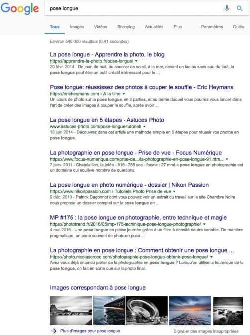 Resultat de recherche google sur la pose longue