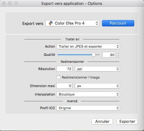 Options Exportation PhotoLab